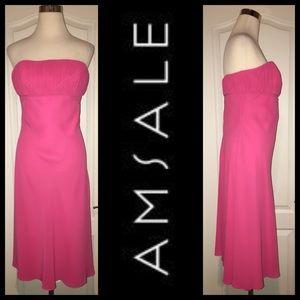 AMSALE Strapless Chiffon Dress